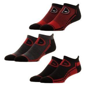 Deadpool 3 Pack Men's Athletic Ankle Socks Marvel